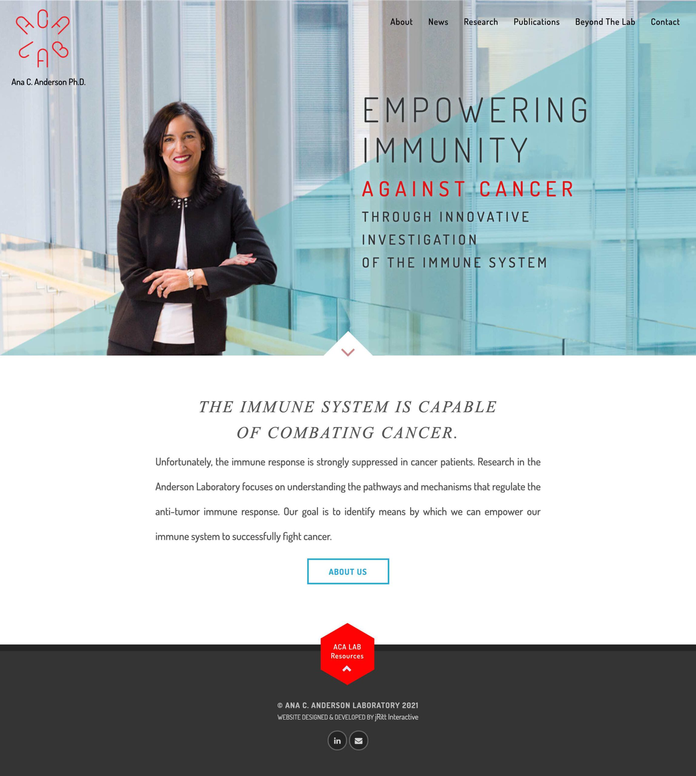 Create a brand identity and website for Dr. Anderson's pioneering cancer research lab